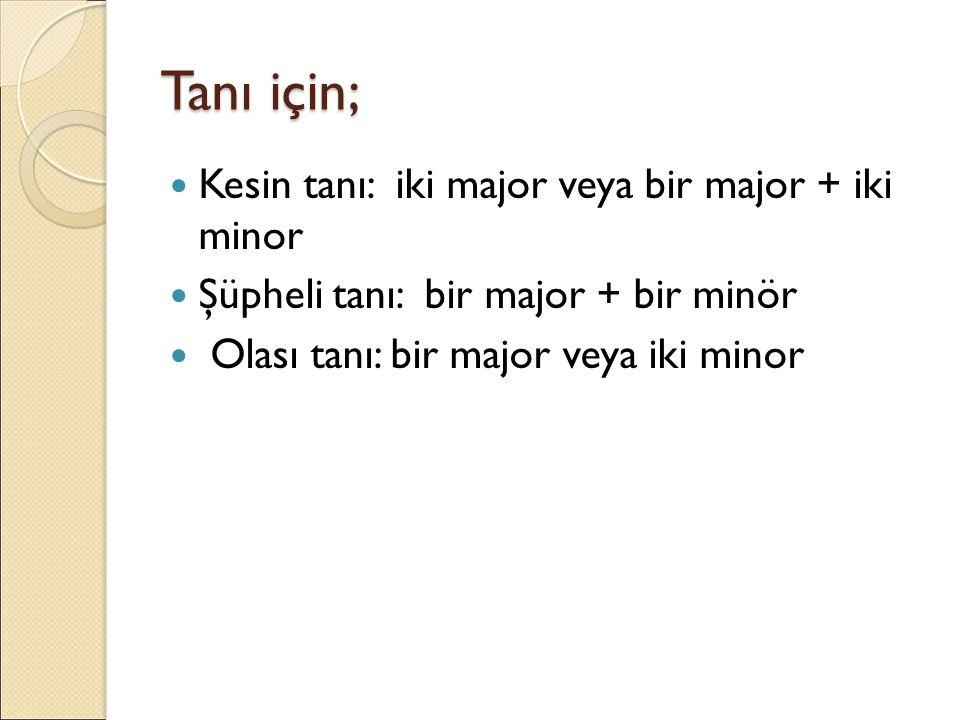 Tanı için; Kesin tanı: iki major veya bir major + iki minor Şüpheli tanı: bir major + bir minör Olası tanı: bir major veya iki minor