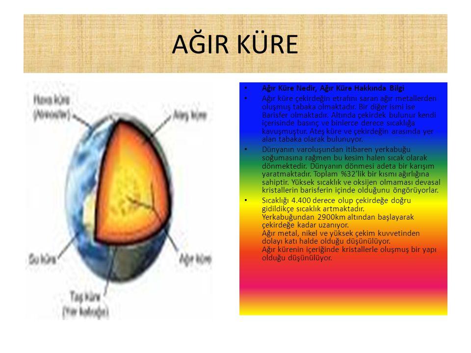 AĞIR KÜRE Ağır Küre Nedir, Ağır Küre Hakkında Bilgi Ağır küre çekirdeğin etrafını saran ağır metallerden oluşmuş tabaka olmaktadır.