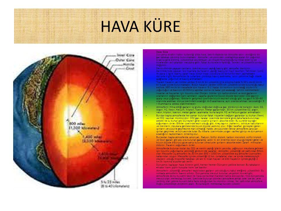 HAVA KÜRE Hava Küre Dünyamız etrafını halkın kullandığı dilde hava, teknik ifadede ise Atmosfer adını verdiğimiz bir gaz tabakası çevirmiş bulunmaktadır.