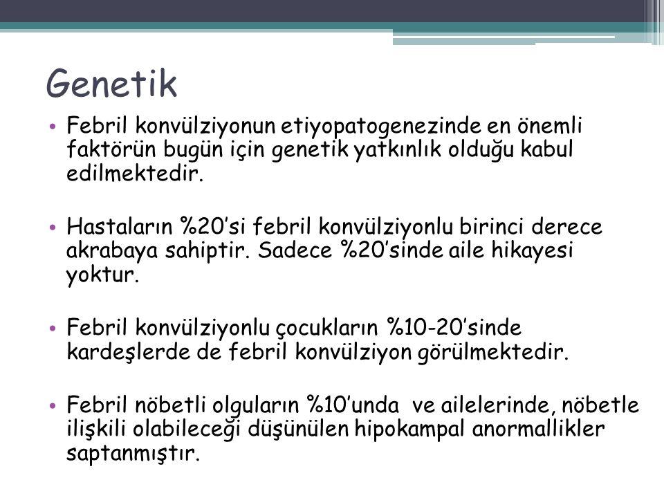 Genetik Febril konvülziyonun etiyopatogenezinde en önemli faktörün bugün için genetik yatkınlık olduğu kabul edilmektedir.