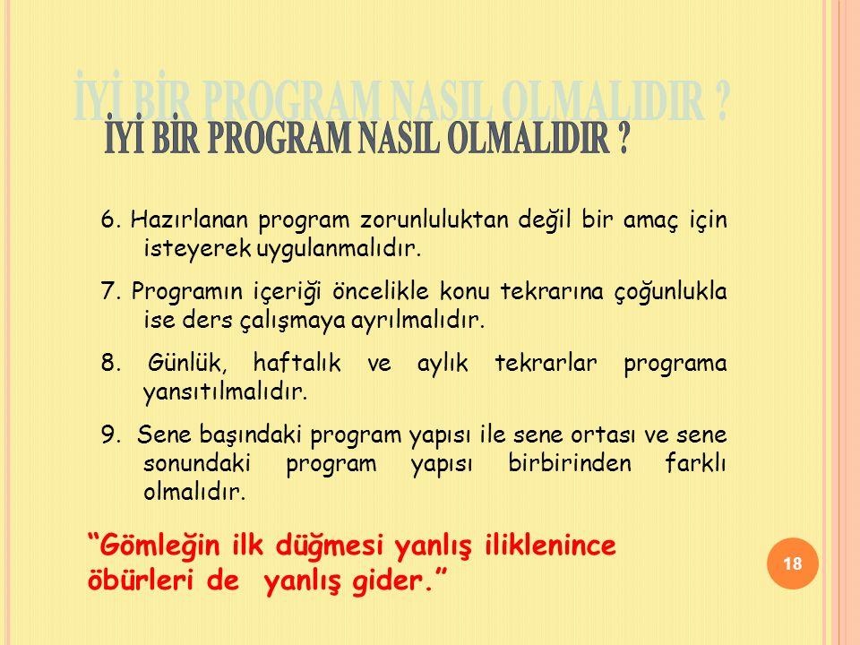 18 6.Hazırlanan program zorunluluktan değil bir amaç için isteyerek uygulanmalıdır.