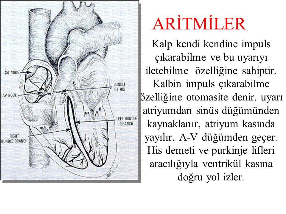 ARİTMİLER Kalp kendi kendine impuls çıkarabilme ve bu uyarıyı iletebilme özelliğine sahiptir.