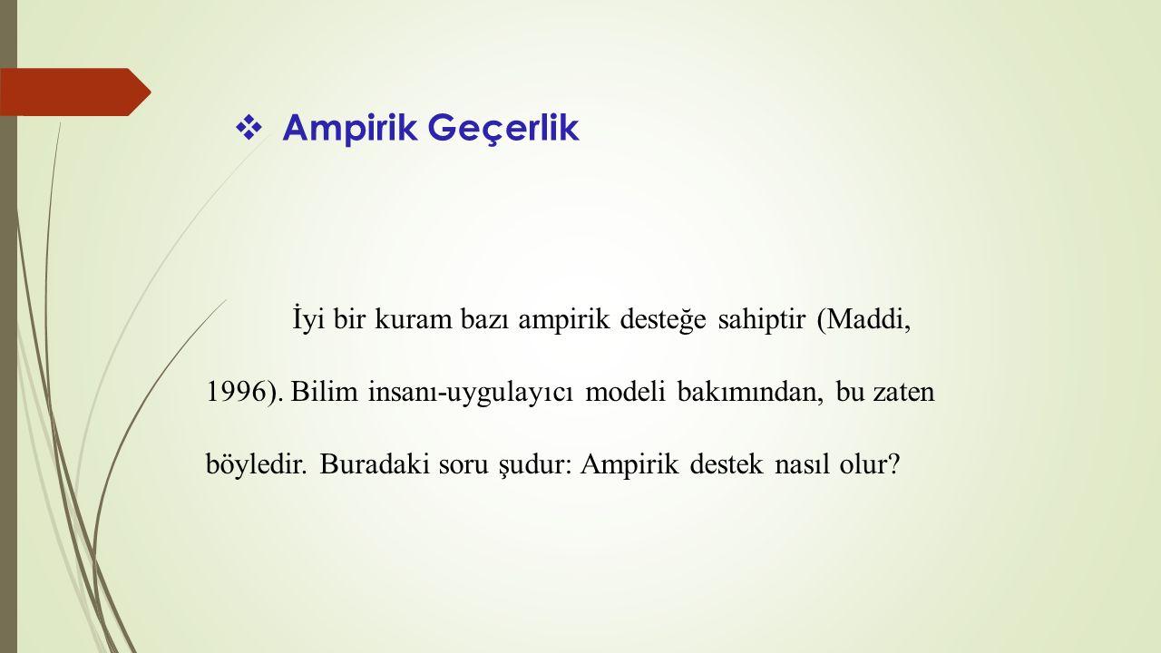  Ampirik Geçerlik İyi bir kuram bazı ampirik desteğe sahiptir (Maddi, 1996). Bilim insanı-uygulayıcı modeli bakımından, bu zaten böyledir. Buradaki s