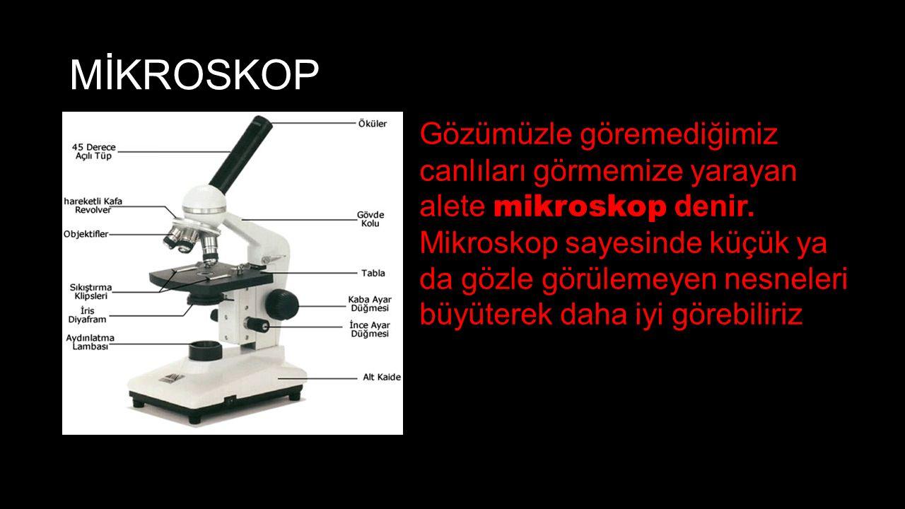 MİKROSKOP Gözümüzle göremediğimiz canlıları görmemize yarayan alete mikroskop denir. Mikroskop sayesinde küçük ya da gözle görülemeyen nesneleri büyüt