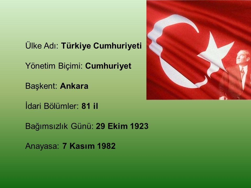 Ülke Adı: Türkiye Cumhuriyeti Yönetim Biçimi: Cumhuriyet Başkent: Ankara İdari Bölümler: 81 il Bağımsızlık Günü: 29 Ekim 1923 Anayasa: 7 Kasım 1982