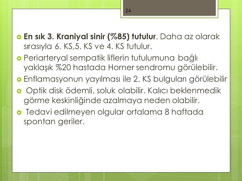  En sık 3. Kraniyal sinir (%85) tutulur. Daha az olarak sırasıyla 6. KS,5. KS ve 4. KS tutulur.  Periarteryal sempatik liflerin tutulumuna bağlı yak