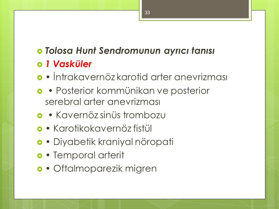  Tolosa Hunt Sendromunun ayrıcı tanısı  1 Vasküler  İntrakavernöz karotid arter anevrizması  Posterior kommünikan ve posterior serebral arter anev