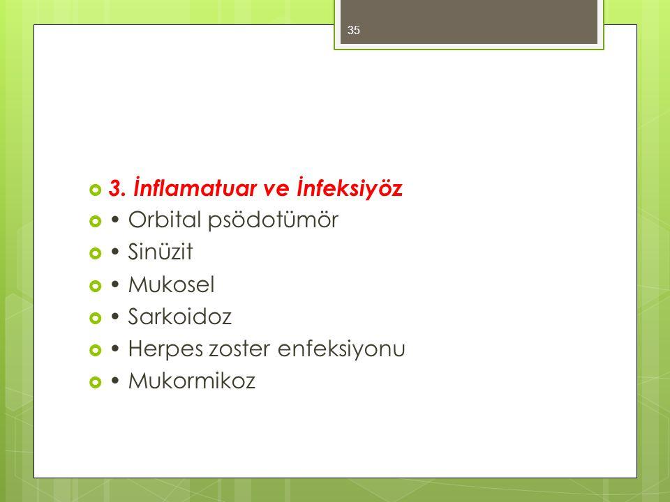  3. İnflamatuar ve İnfeksiyöz  Orbital psödotümör  Sinüzit  Mukosel  Sarkoidoz  Herpes zoster enfeksiyonu  Mukormikoz 35