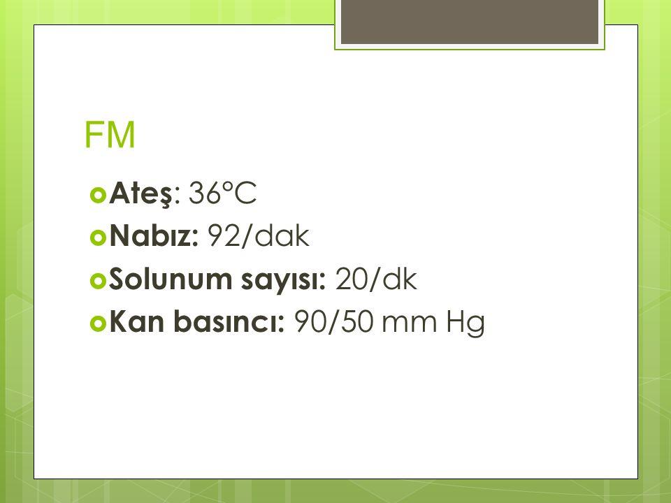 FM  Ateş : 36 ° C  Nabız: 92/dak  Solunum sayısı: 20/dk  Kan basıncı: 90/50 mm Hg