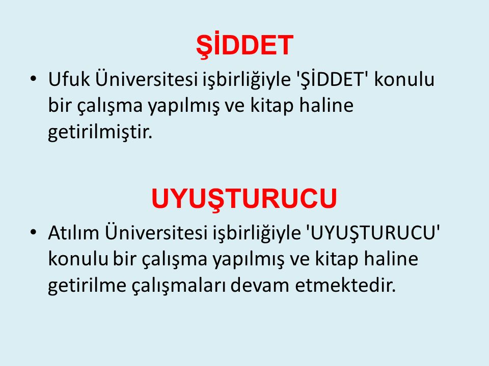 ŞİDDET Ufuk Üniversitesi işbirliğiyle 'ŞİDDET' konulu bir çalışma yapılmış ve kitap haline getirilmiştir. UYUŞTURUCU Atılım Üniversitesi işbirliğiyle