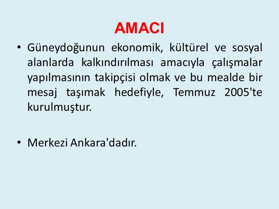 ÇALIŞMALARI 7 yıllık çalışma sürecinde, Güneydoğu nun değişik il ve ilçeleri ile üst değerlendirmeleri Ankara da olmak üzere 85'e yakın panel, sempozyum, çalıştay gibi eğitici, bilgi paylaşımlı bilimsel toplantılara öncülük etmiş, bu çalışmalarda Valilikler, Kaymakamlıklar, Üniversiteler, Sivil Toplum Örgütleriyle işbirliği yapmıştır.