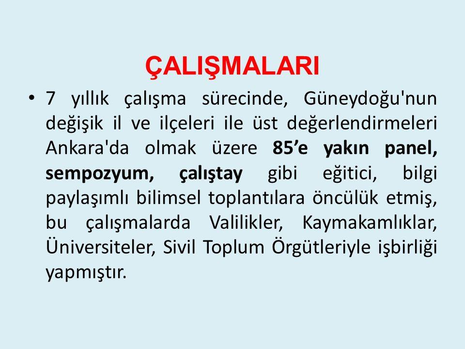 KALKINMA Şanlıurfa, Adıyaman, Mardin, Batman, Siirt, Şırnak ve Diyarbakır düzenlediği panel ve sempozyumlarla kalkınmanın önündeki engellerin konuşulmasını sağlamıştır.