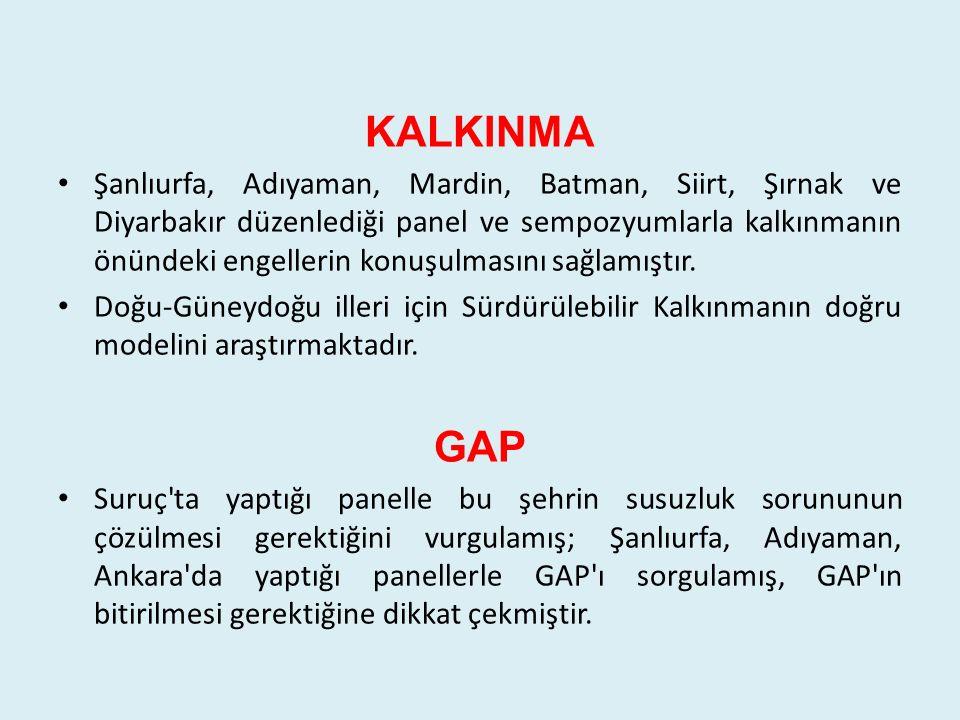 KALKINMA Şanlıurfa, Adıyaman, Mardin, Batman, Siirt, Şırnak ve Diyarbakır düzenlediği panel ve sempozyumlarla kalkınmanın önündeki engellerin konuşulm