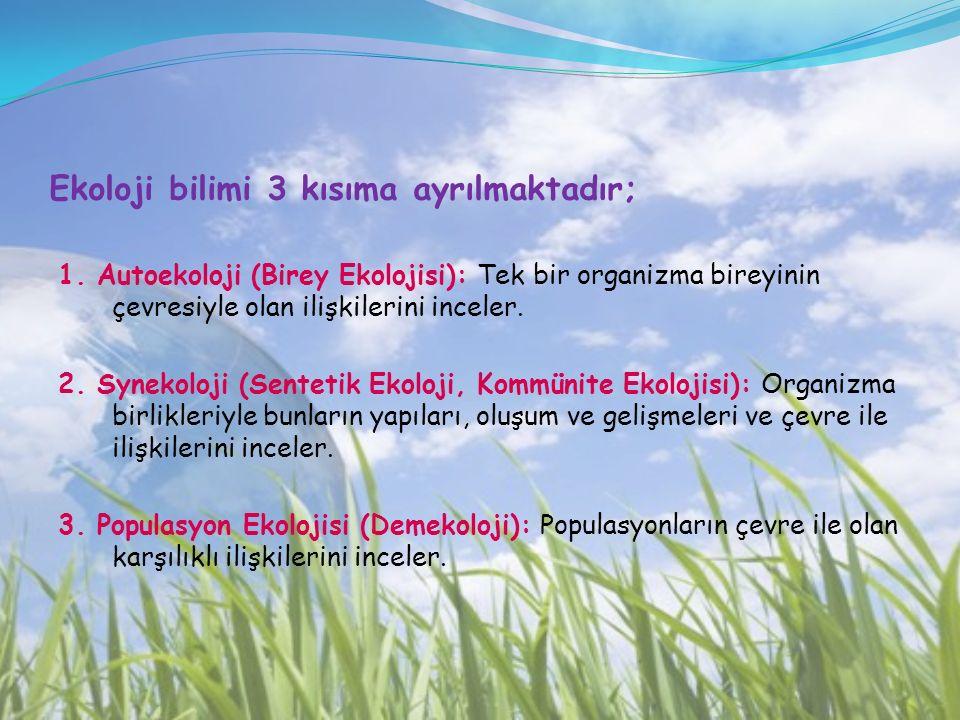Ekoloji bilimi 3 kısıma ayrılmaktadır; 1. Autoekoloji (Birey Ekolojisi): Tek bir organizma bireyinin çevresiyle olan ilişkilerini inceler. 2. Synekolo