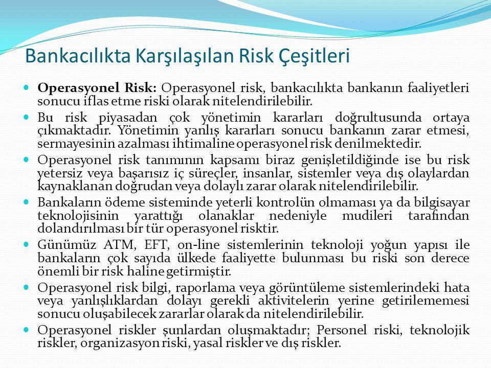Bankacılıkta Karşılaşılan Risk Çeşitleri Operasyonel Risk: Operasyonel risk, bankacılıkta bankanın faaliyetleri sonucu iflas etme riski olarak nitelen