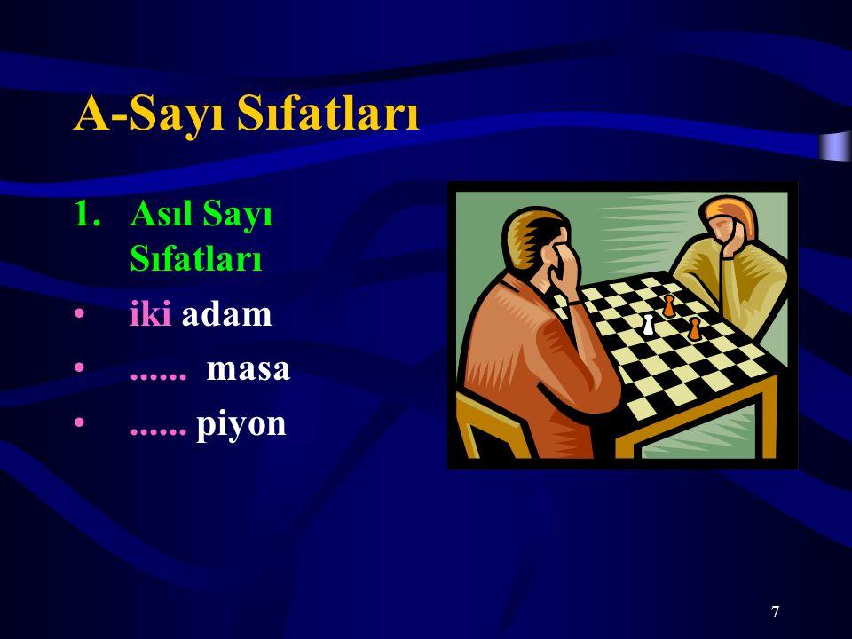 7 A-Sayı Sıfatları 1.Asıl Sayı Sıfatları iki adam...... masa...... piyon