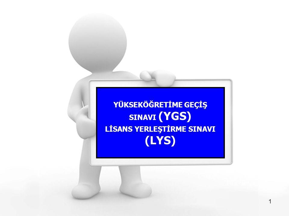 1 YÜKSEKÖĞRETİME GEÇİŞ SINAVI (YGS) LİSANS YERLEŞTİRME SINAVI (LYS)