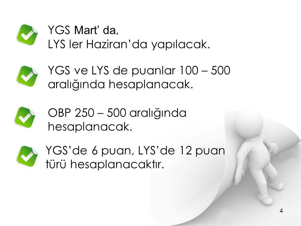 YGS Mart' da, LYS ler Haziran'da yapılacak.