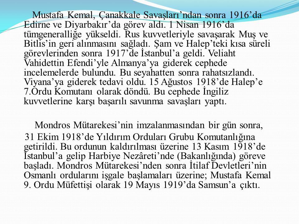 Atatürk Askerlik Yılları İlk görev yeri 11 Ocak 1905'te atandığı merkezi Şam'da bulunan 5. Ordu idi. 1907'de Kolağası (Kıdemli Yüzbaşı) oldu. Manastır
