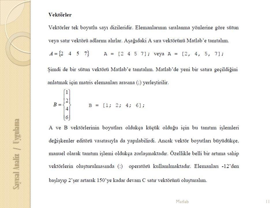 11Matlab Sayısal Analiz / Uygulama