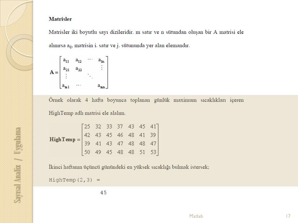 17Matlab Sayısal Analiz / Uygulama