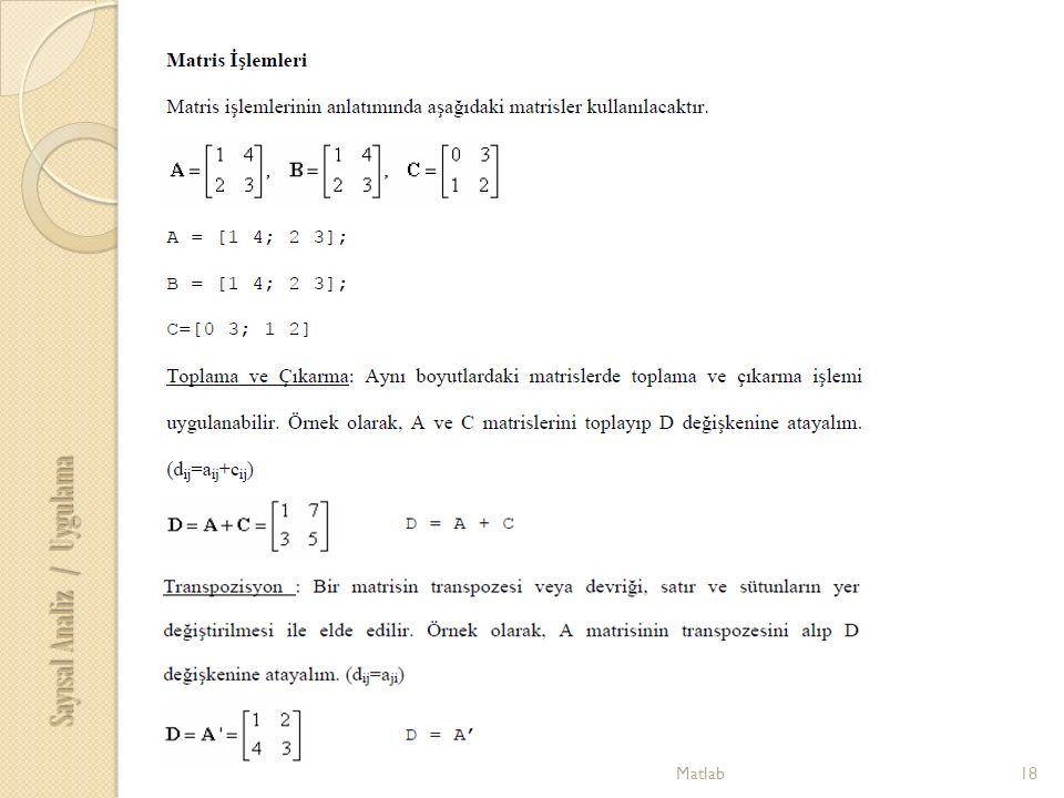 18Matlab Sayısal Analiz / Uygulama