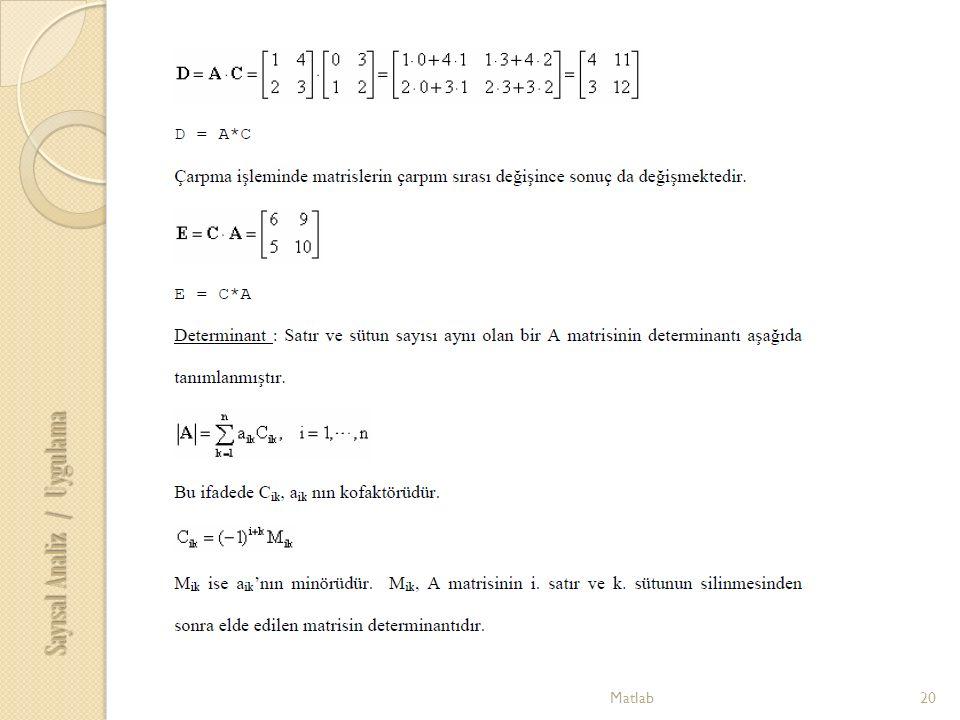 20Matlab Sayısal Analiz / Uygulama