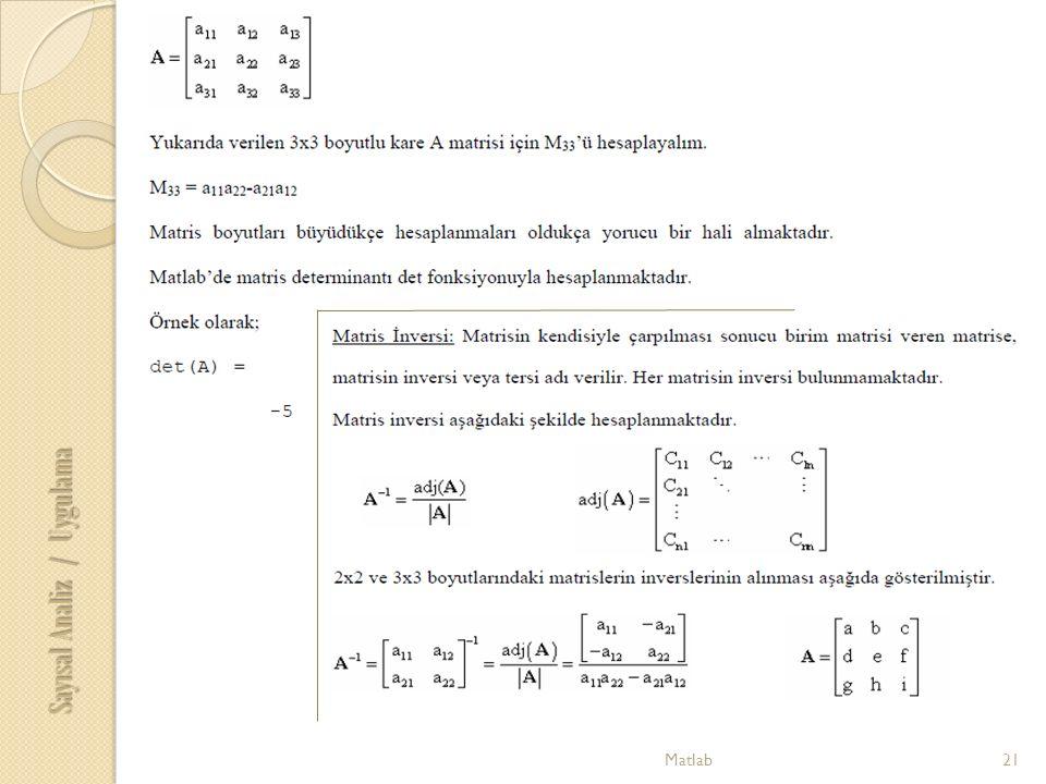 21Matlab Sayısal Analiz / Uygulama