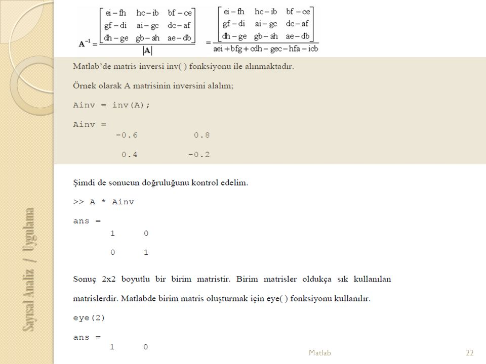 22Matlab Sayısal Analiz / Uygulama