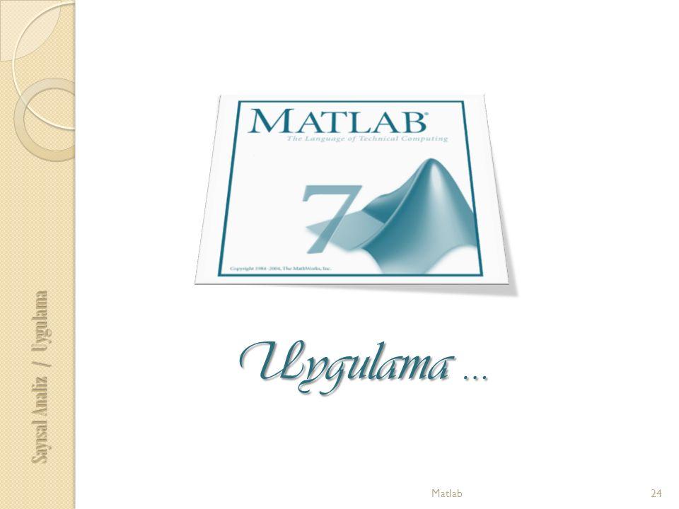 Matlab24 Uygulama … Sayısal Analiz / Uygulama