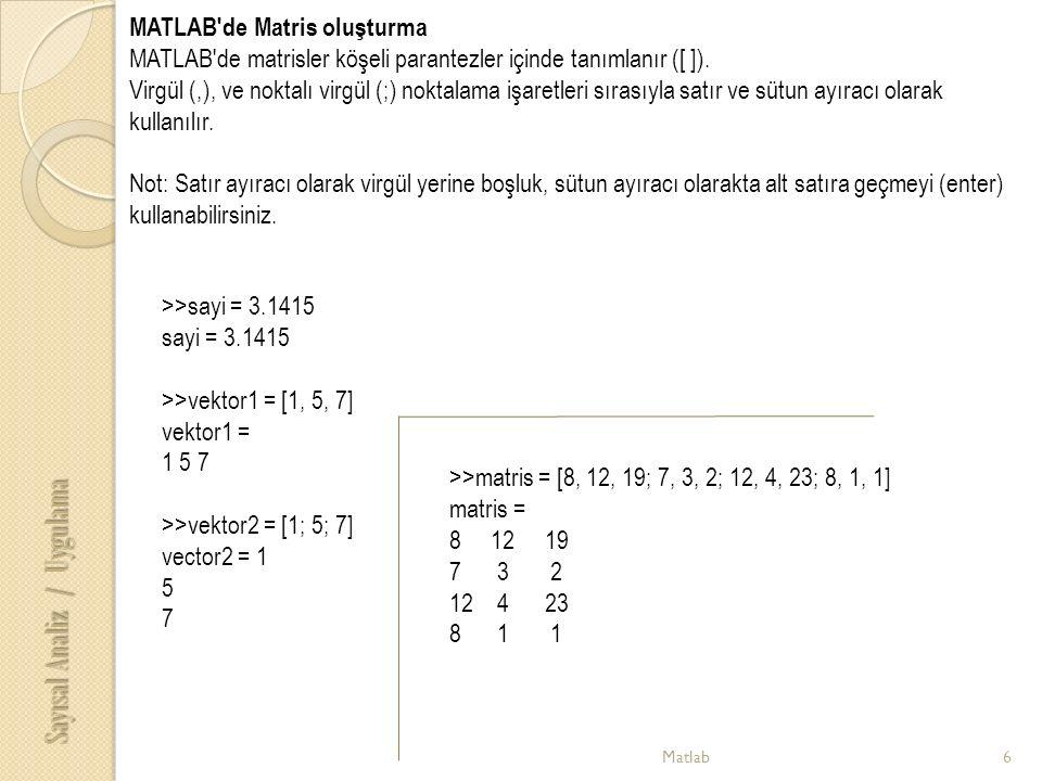 Matlab6 Sayısal Analiz / Uygulama MATLAB de Matris oluşturma MATLAB de matrisler köşeli parantezler içinde tanımlanır ([ ]).