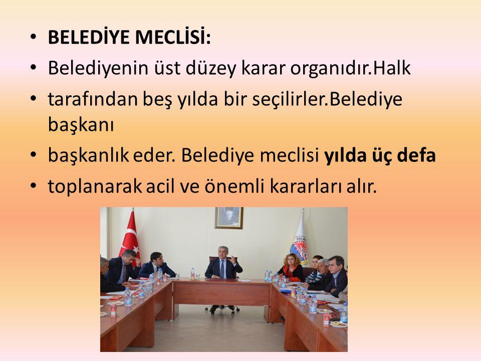 BELEDİYE MECLİSİ: Belediyenin üst düzey karar organıdır.Halk tarafından beş yılda bir seçilirler.Belediye başkanı başkanlık eder. Belediye meclisi yıl
