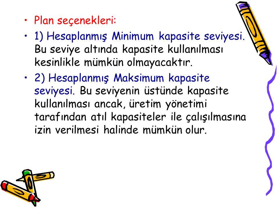 Plan seçenekleri: 1) Hesaplanmış Minimum kapasite seviyesi. Bu seviye altında kapasite kullanılması kesinlikle mümkün olmayacaktır. 2) Hesaplanmış Mak