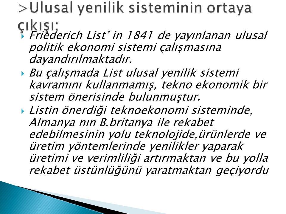  Friederich List' in 1841 de yayınlanan ulusal politik ekonomi sistemi çalışmasına dayandırılmaktadır.  Bu çalışmada List ulusal yenilik sistemi kav