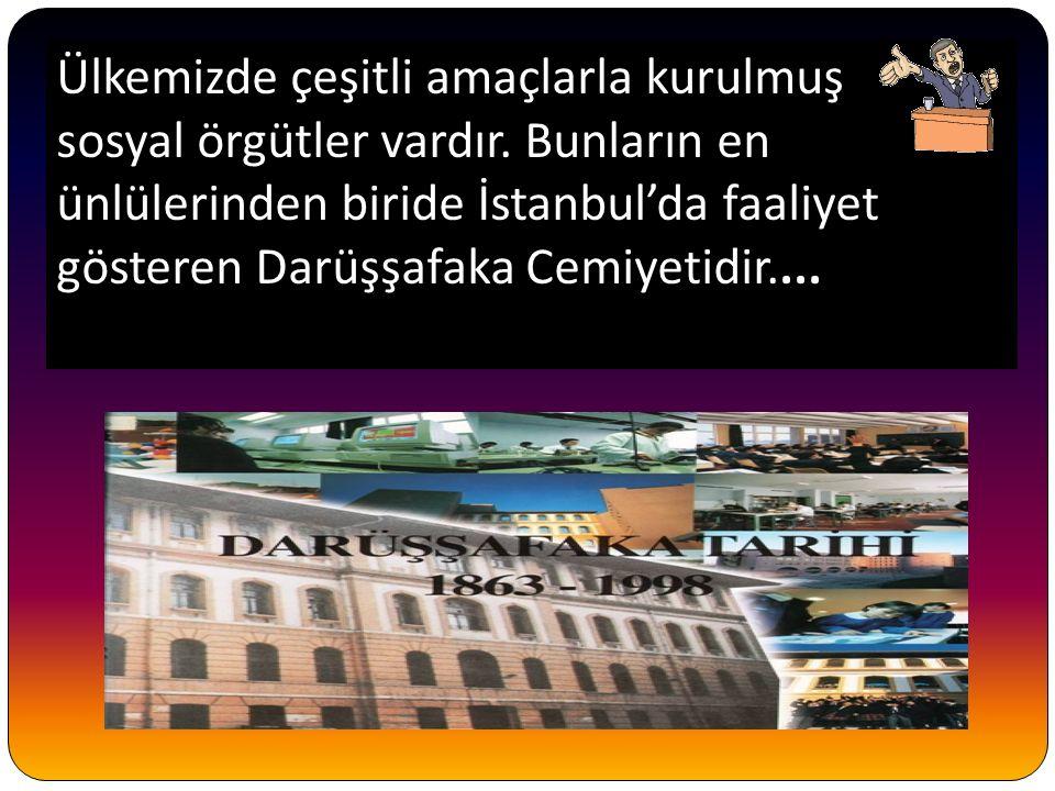 Ülkemizde çeşitli amaçlarla kurulmuş sosyal örgütler vardır. Bunların en ünlülerinden biride İstanbul'da faaliyet gösteren Darüşşafaka Cemiyetidir....