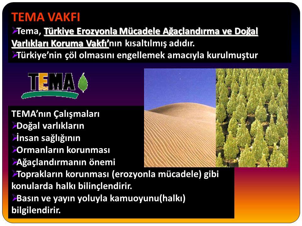 TEMA VAKFI Türkiye Erozyonla Mücadele Ağaçlandırma ve Doğal Varlıkları Koruma Vakfı'  Tema, Türkiye Erozyonla Mücadele Ağaçlandırma ve Doğal Varlıkları Koruma Vakfı'nın kısaltılmış adıdır.