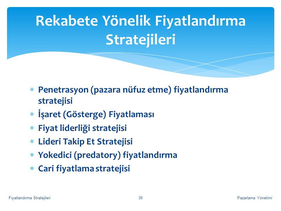  Penetrasyon (pazara nüfuz etme) fiyatlandırma stratejisi  İşaret (Gösterge) Fiyatlaması  Fiyat liderliği stratejisi  Lideri Takip Et Stratejisi 