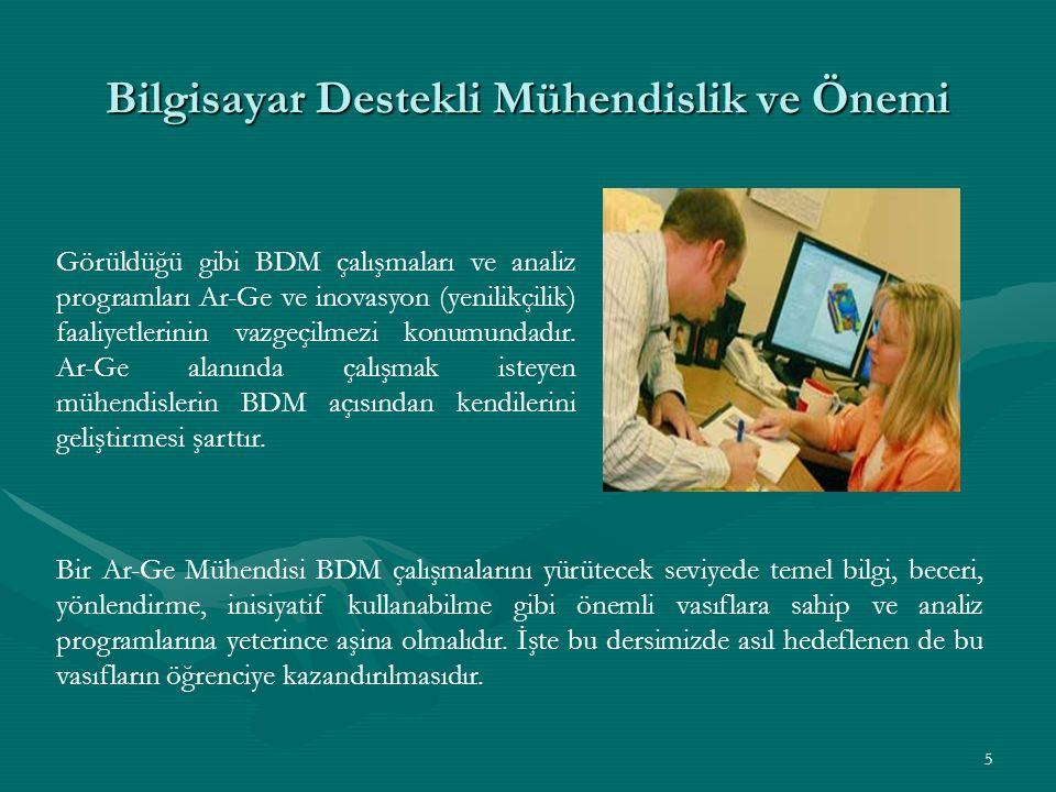 5 Bilgisayar Destekli Mühendislik ve Önemi Görüldüğü gibi BDM çalışmaları ve analiz programları Ar-Ge ve inovasyon (yenilikçilik) faaliyetlerinin vazgeçilmezi konumundadır.