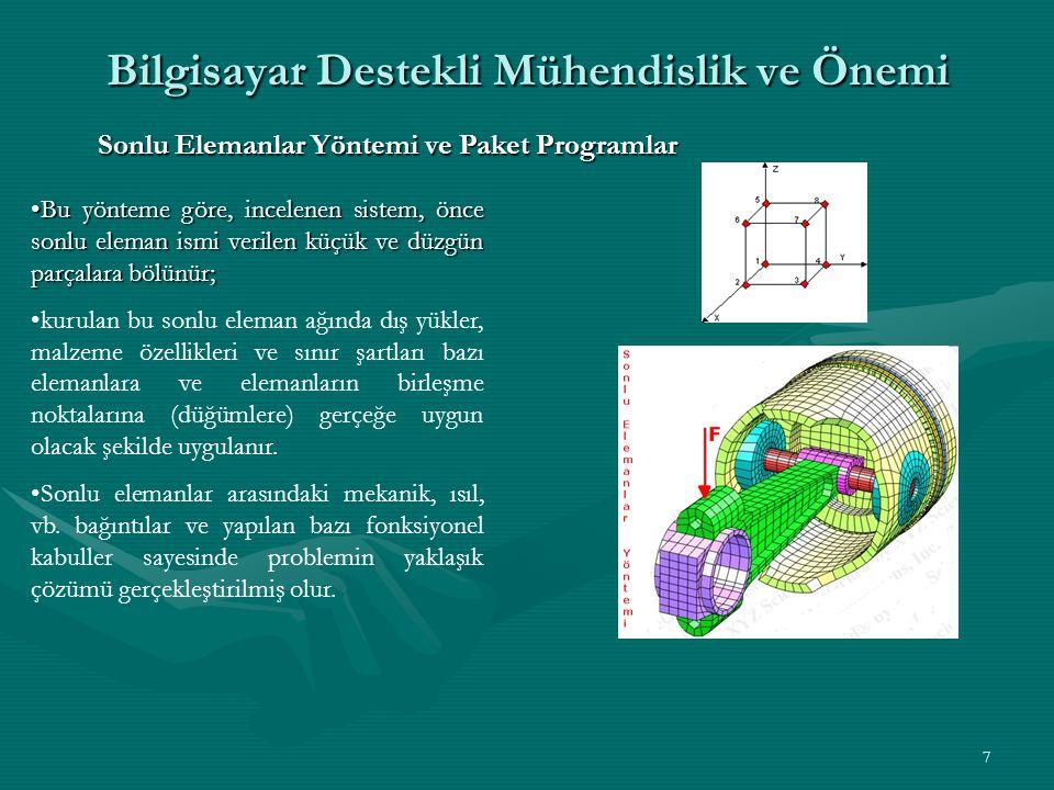 7 Bilgisayar Destekli Mühendislik ve Önemi Sonlu Elemanlar Yöntemi ve Paket Programlar Bu yönteme göre, incelenen sistem, önce sonlu eleman ismi verilen küçük ve düzgün parçalara bölünür;Bu yönteme göre, incelenen sistem, önce sonlu eleman ismi verilen küçük ve düzgün parçalara bölünür; kurulan bu sonlu eleman ağında dış yükler, malzeme özellikleri ve sınır şartları bazı elemanlara ve elemanların birleşme noktalarına (düğümlere) gerçeğe uygun olacak şekilde uygulanır.