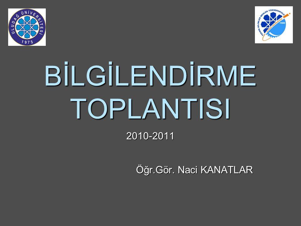 BİLGİLENDİRME TOPLANTISI 2010-2011 Öğr.Gör. Naci KANATLAR