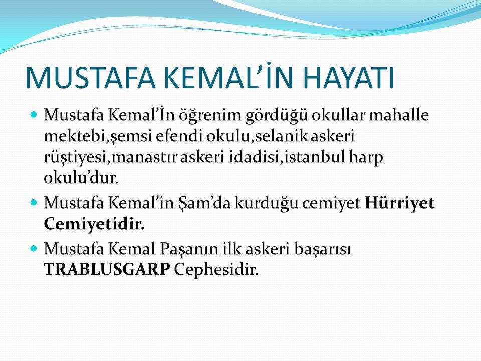 MUSTAFA KEMAL'İN HAYATI Mustafa Kemal'İn öğrenim gördüğü okullar mahalle mektebi,şemsi efendi okulu,selanik askeri rüştiyesi,manastır askeri idadisi,istanbul harp okulu'dur.