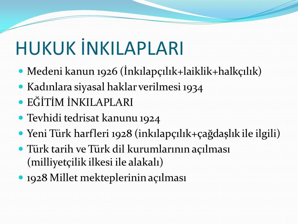 HUKUK İNKILAPLARI Medeni kanun 1926 (İnkılapçılık+laiklik+halkçılık) Kadınlara siyasal haklar verilmesi 1934 EĞİTİM İNKILAPLARI Tevhidi tedrisat kanunu 1924 Yeni Türk harfleri 1928 (inkılapçılık+çağdaşlık ile ilgili) Türk tarih ve Türk dil kurumlarının açılması (milliyetçilik ilkesi ile alakalı) 1928 Millet mekteplerinin açılması