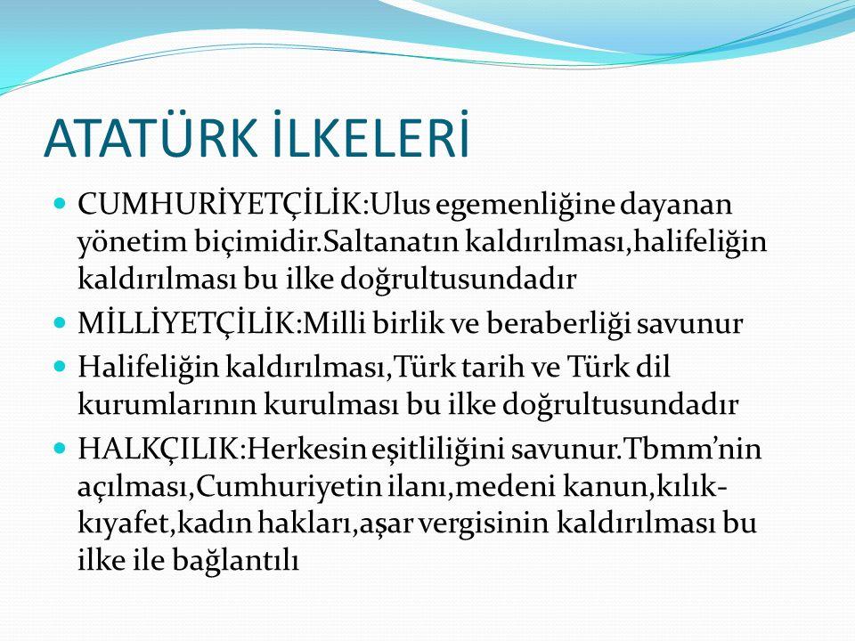 ATATÜRK İLKELERİ CUMHURİYETÇİLİK:Ulus egemenliğine dayanan yönetim biçimidir.Saltanatın kaldırılması,halifeliğin kaldırılması bu ilke doğrultusundadır MİLLİYETÇİLİK:Milli birlik ve beraberliği savunur Halifeliğin kaldırılması,Türk tarih ve Türk dil kurumlarının kurulması bu ilke doğrultusundadır HALKÇILIK:Herkesin eşitliliğini savunur.Tbmm'nin açılması,Cumhuriyetin ilanı,medeni kanun,kılık- kıyafet,kadın hakları,aşar vergisinin kaldırılması bu ilke ile bağlantılı
