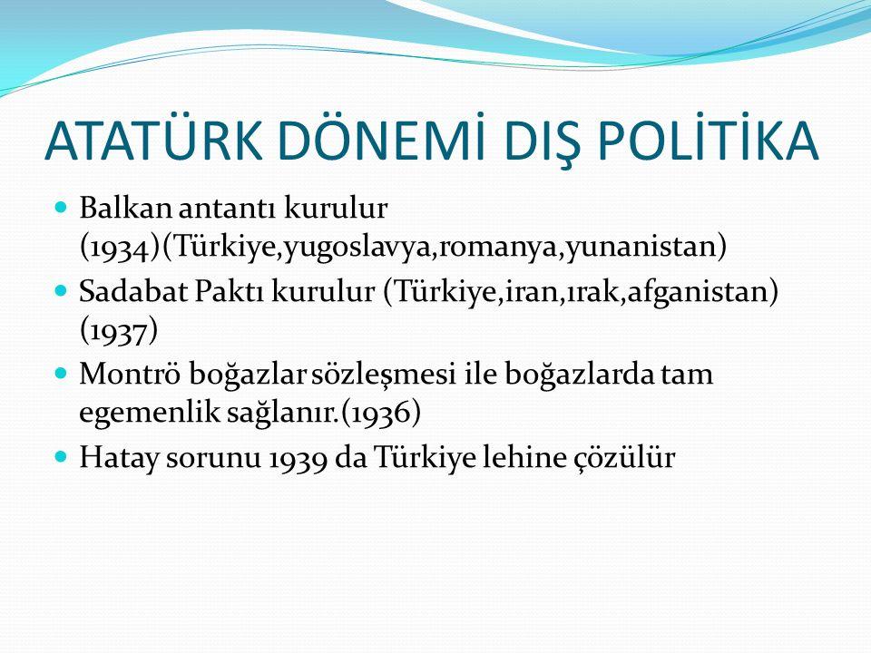 ATATÜRK DÖNEMİ DIŞ POLİTİKA Balkan antantı kurulur (1934)(Türkiye,yugoslavya,romanya,yunanistan) Sadabat Paktı kurulur (Türkiye,iran,ırak,afganistan) (1937) Montrö boğazlar sözleşmesi ile boğazlarda tam egemenlik sağlanır.(1936) Hatay sorunu 1939 da Türkiye lehine çözülür