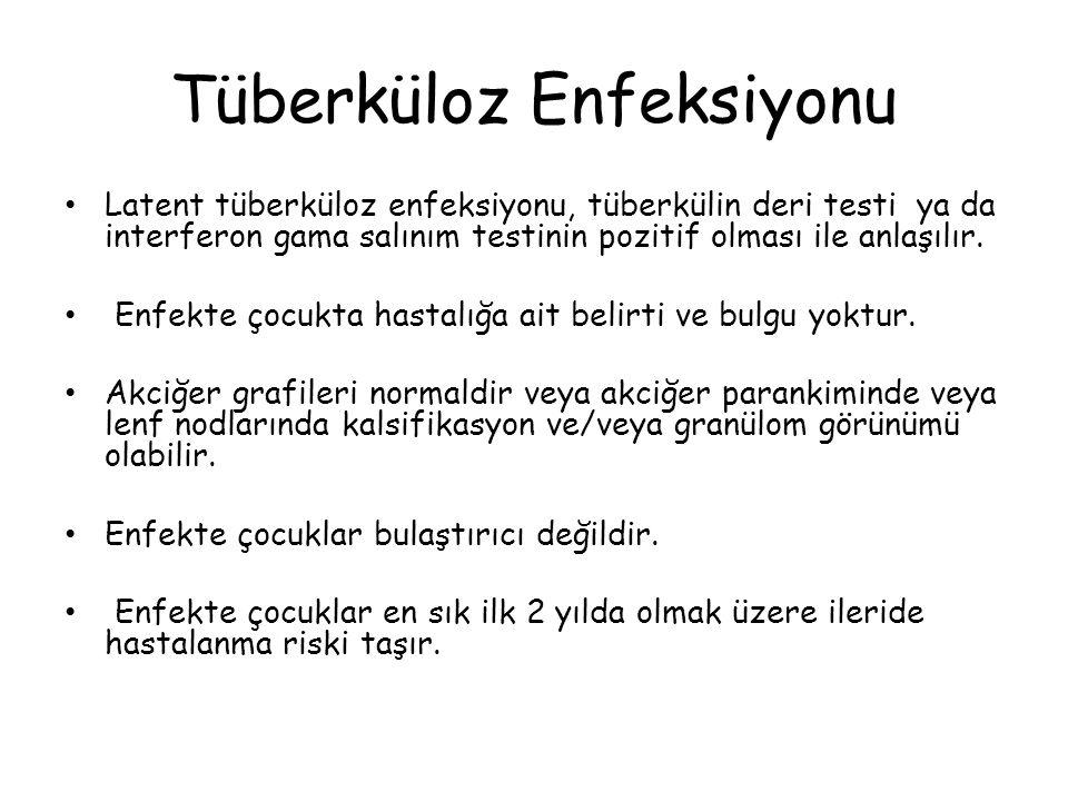 Tüberküloz Enfeksiyonu Latent tüberküloz enfeksiyonu, tüberkülin deri testi ya da interferon gama salınım testinin pozitif olması ile anlaşılır.