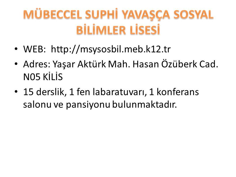 WEB: http://msysosbil.meb.k12.tr Adres: Yaşar Aktürk Mah. Hasan Özüberk Cad. N05 KİLİS 15 derslik, 1 fen labaratuvarı, 1 konferans salonu ve pansiyonu