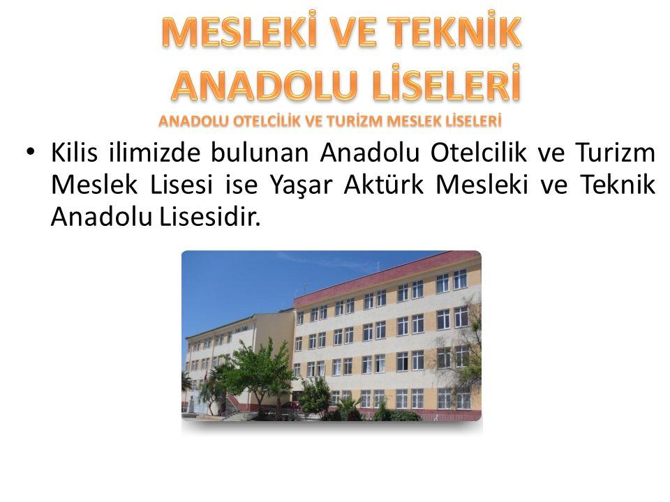 Kilis ilimizde bulunan Anadolu Otelcilik ve Turizm Meslek Lisesi ise Yaşar Aktürk Mesleki ve Teknik Anadolu Lisesidir.