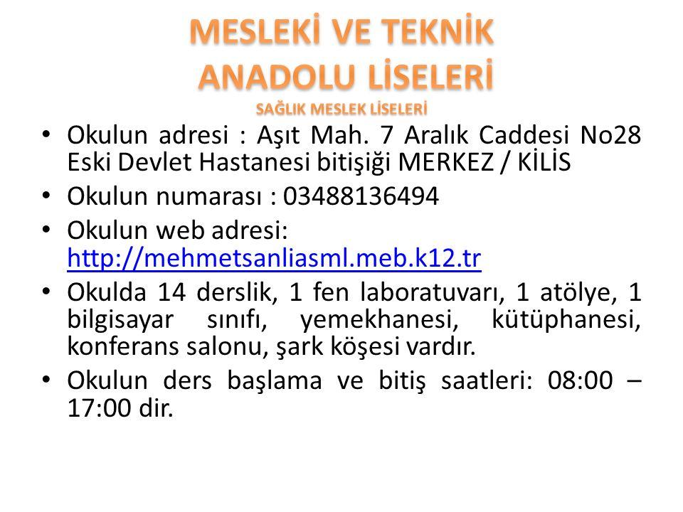 Okulun adresi : Aşıt Mah. 7 Aralık Caddesi No28 Eski Devlet Hastanesi bitişiği MERKEZ / KİLİS Okulun numarası : 03488136494 Okulun web adresi: http://