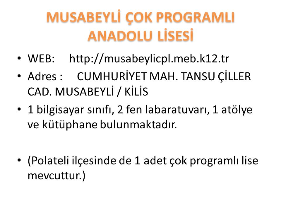 WEB: http://musabeylicpl.meb.k12.tr Adres : CUMHURİYET MAH.