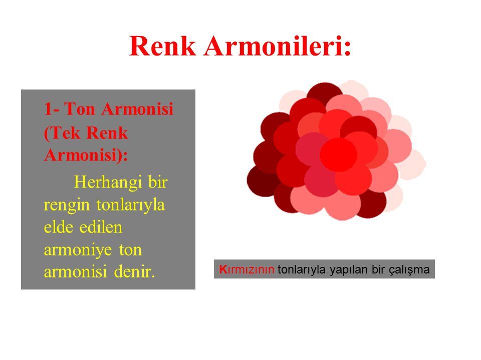 Renk Armonileri: 1- Ton Armonisi (Tek Renk Armonisi): Herhangi bir rengin tonlarıyla elde edilen armoniye ton armonisi denir. Kırmızının tonlarıyla ya